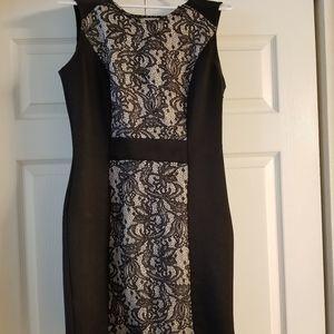 Sz 10 Lace Black Ivory Bodycon Dress 10P zipper